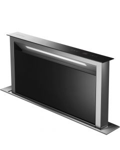 Smeg KDD90VXNE 90cm Stainless Steel and Black Glass Island Downdraft Hood