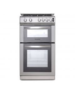 Montpellier 50cm Gas Double Oven With Lid Silver - LPG Jets Included
