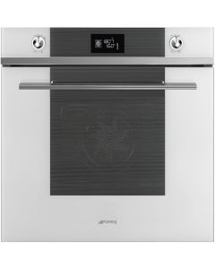Smeg SFP6102TVB 60cm Linea White Glass Pyrolytic Multifunction Single Oven A+ with Soft Close Door