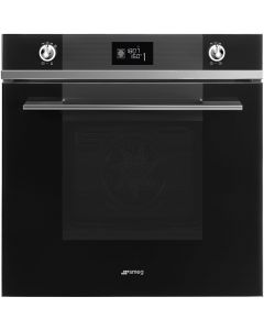 Smeg SFP6102TVN 60cm Linea Black Glass Pyrolytic Multifunction Single Oven A+ with Soft Close Door
