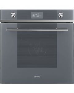 Smeg SFP6102TVS 60cm Linea Silver Glass Pyrolytic Multifunction Single Oven A+ with Soft Close Door with