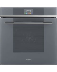 Smeg SFP6104STS 60cm Linea Silver Glass Steam Assisted Pyrolytic Multifunction Single Oven with Touch