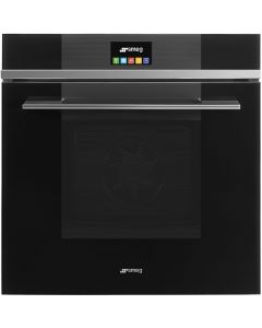 Smeg SFP6104TVN 60cm Linea Black Pyrolytic Multifunction Single Oven with Touch Controls A+ with Soft Close